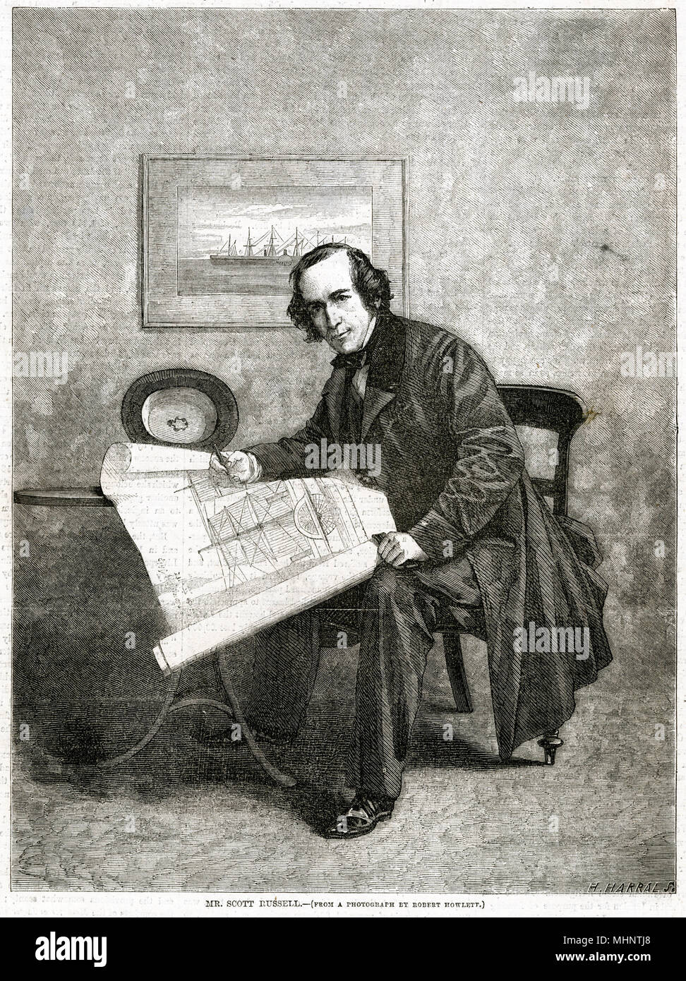 John Scott Russell (1808 - 1882), Scottish civil engineer, naval architect and shipbuilder who built the Great Eastern in collaboration with Isambard Kingdom Brunel.     Date: 1858 - Stock Image