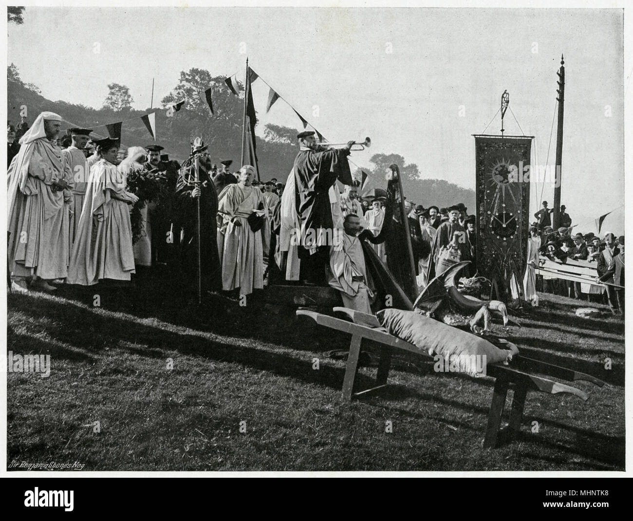 'Opening of Gorsedd', Ceremony in which druids are in a circle, the Gorsedd (meaning chief) sit on a throne, where the Eisteddfod is proclaimed.     Date: 1906 - Stock Image