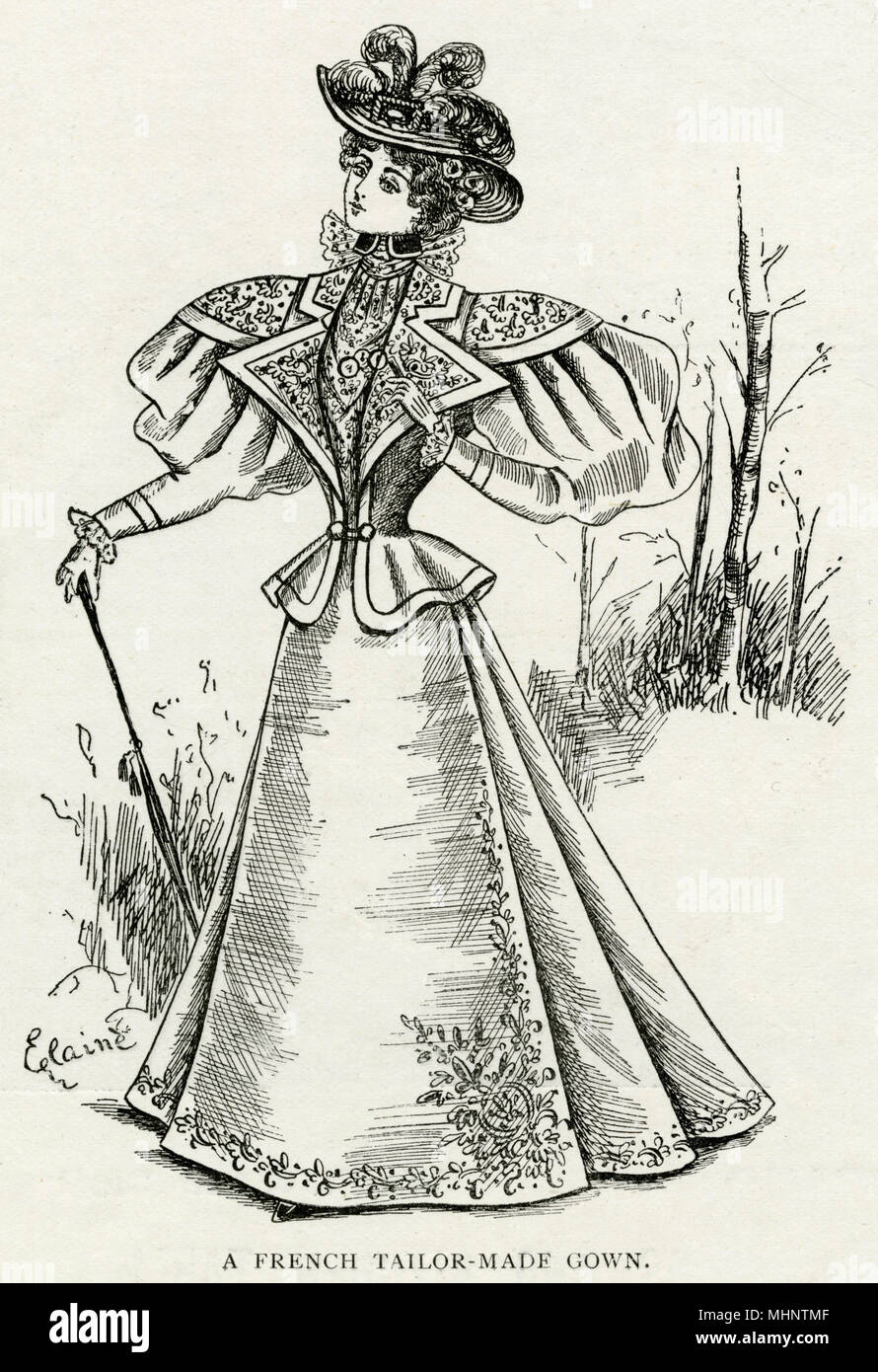 Tailored dress with leg-of-mutton sleeves and narrow waist.     Date: 1895 - Stock Image
