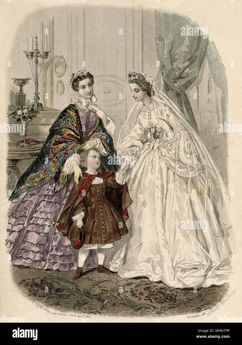 High buttoned corsage with collar, pointed waist with corsage, bell shaped  sleeves, page boy in brown and black tunic with cape and woman in pulple dress with rainbow shawl.     Date: 1861 - Stock Image