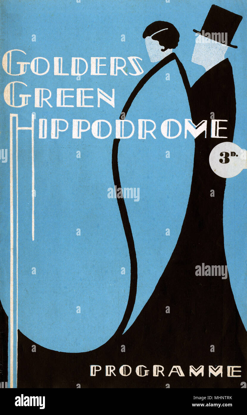 Front cover of a theatre programme for the Golders Green Hippodrome featuring a stylised couple in evening dress.      Date: 1939 - Stock Image