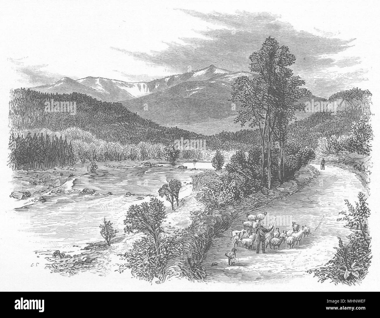 SCOTLAND. Lochnagar 1901 old antique vintage print picture - Stock Image
