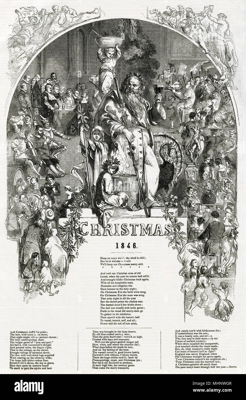 Page of Victorian men and women getting into the Christmas spirit ...