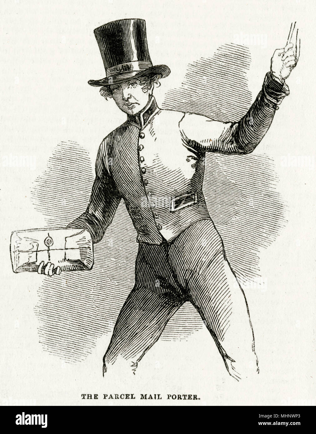 Parcel mail porter in London.     Date: 1846 - Stock Image