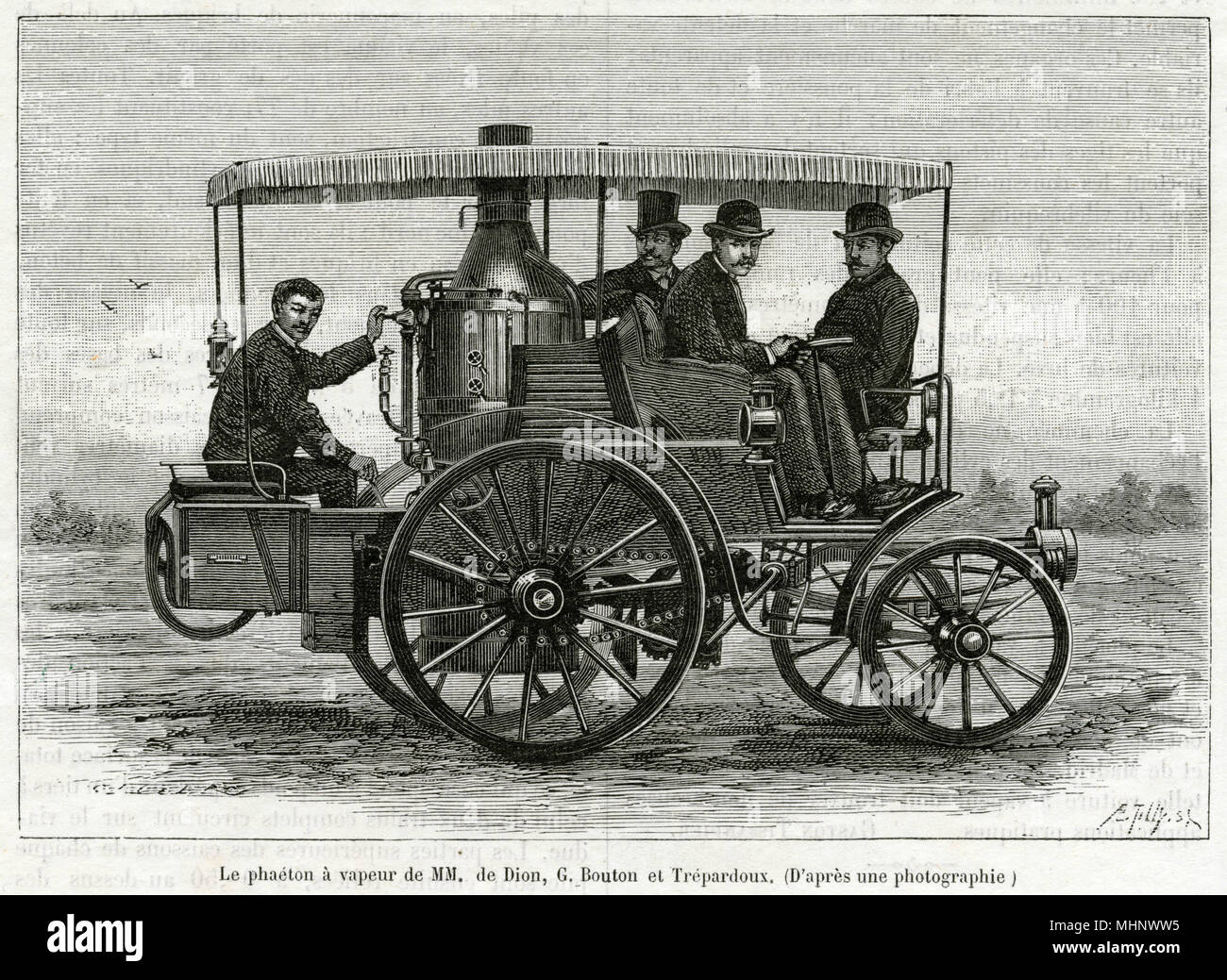 De Dion-Bouton was a French automobile manufacturer, here is one of thier inventions in August 1884.     Date: August 1884 - Stock Image