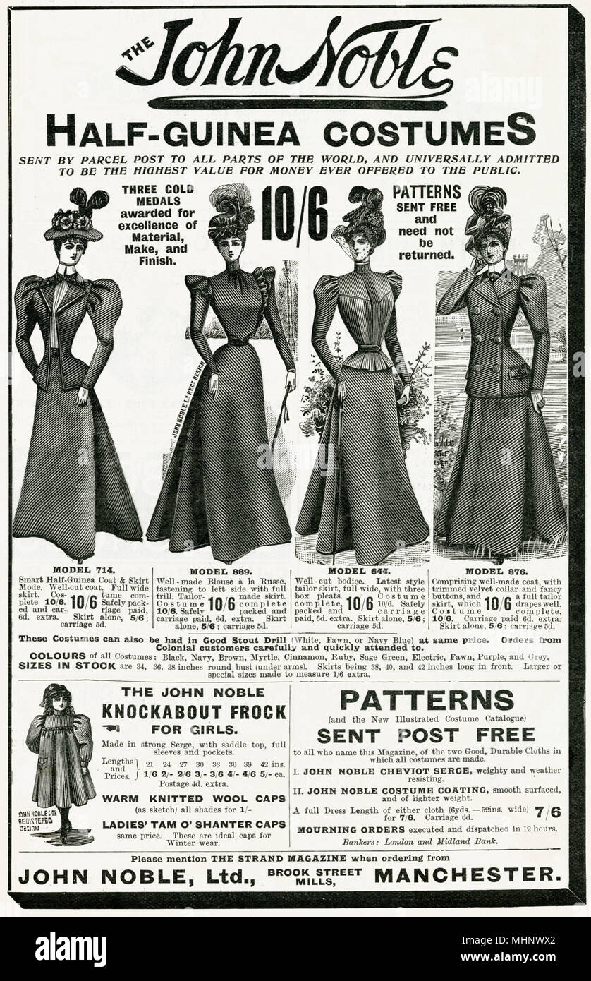 Advertising half-guine costumes, available to be parcel posted free to all parts of the World.     Date: 1898 - Stock Image