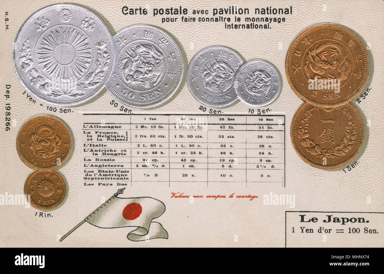 Postcard explaining the currency of Japan, with equivalent values for other countries.       Date: circa 1900 - Stock Image