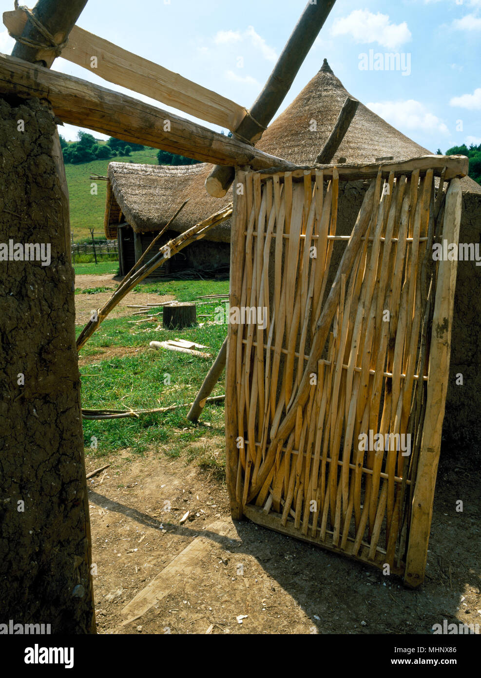 New pivoted door made from hazel hurdle fixed into frame of reconstructed Glastonbury Lake Village house, Butser Ancient Farm, Hampshire, England. - Stock Image
