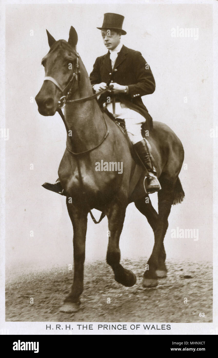 Prince of Wales, later King Edward VIII, on horseback.      Date: 1920s - Stock Image