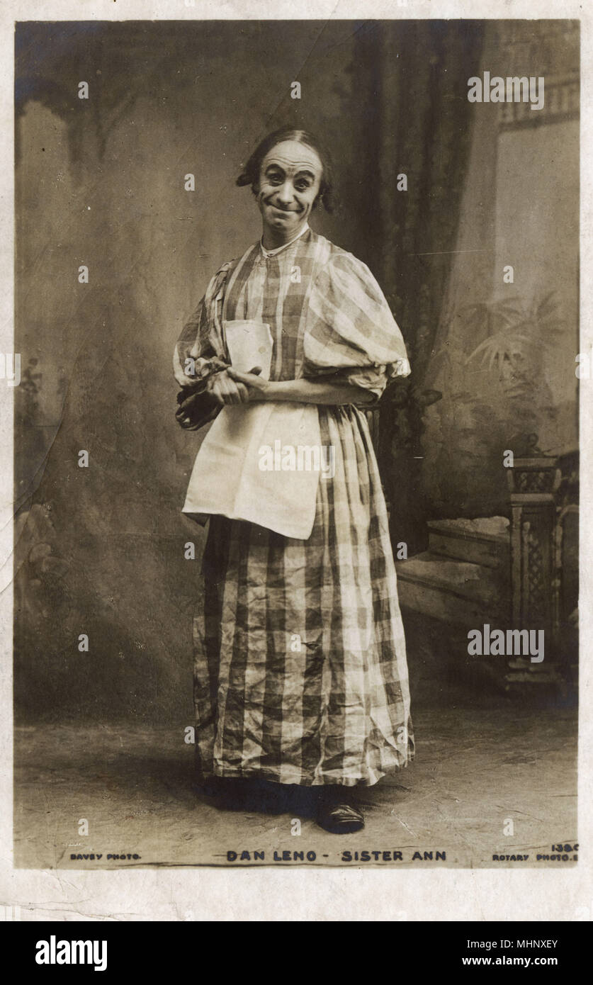 Dan Leno (George Wild Galvin), music hall comedian and musical theatre actor, as Sister Anne in a pantomime entitled Bluebeard, at Drury Lane Theatre, London.      Date: circa 1901 - Stock Image