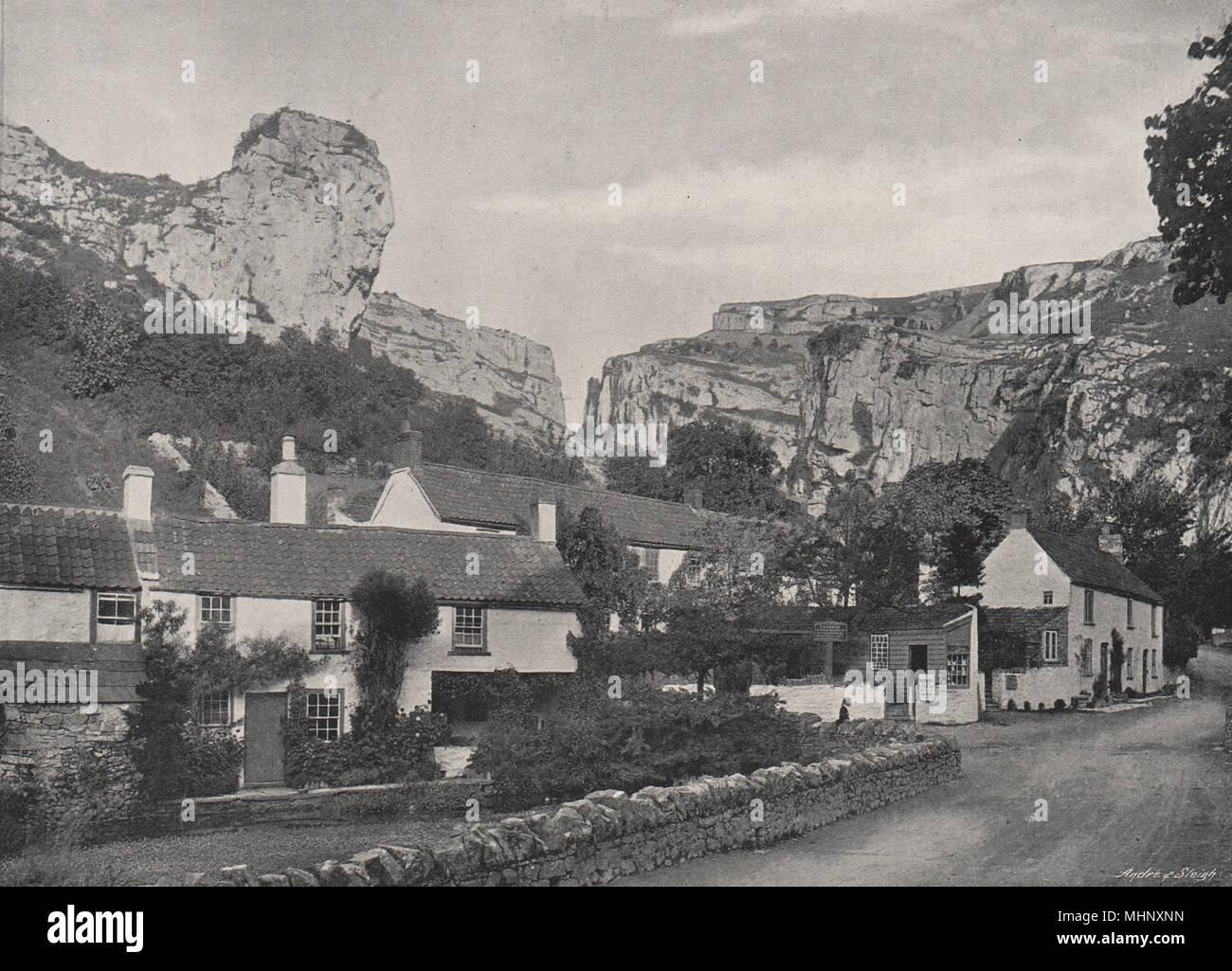 SOMT High rocks at Cheddar 1898 old antique vintage print picture