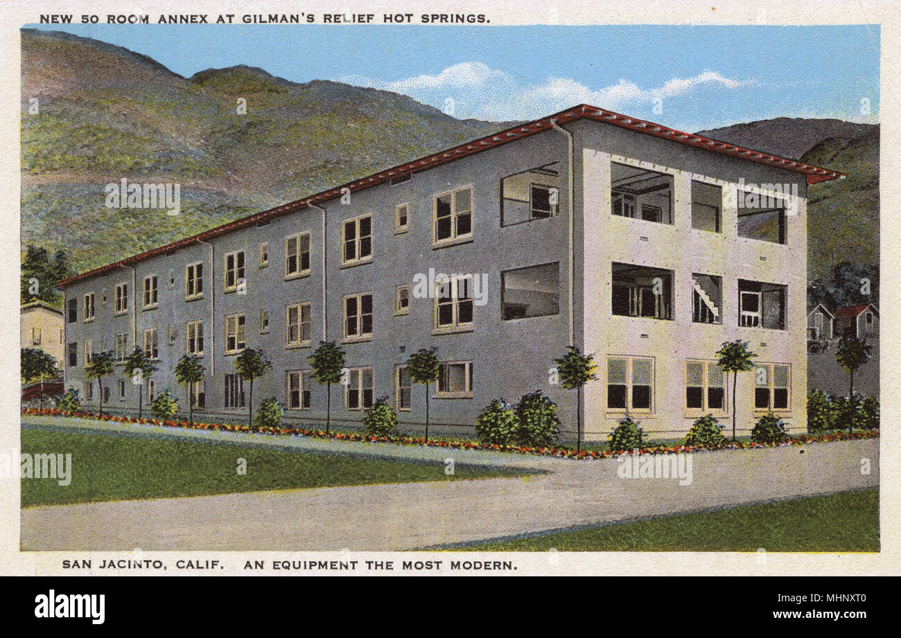 New 50-room annex at Gilman's Relief Hot Springs, San Jacinto, California, USA, an all-year-round health resort.      Date: 1928 - Stock Image