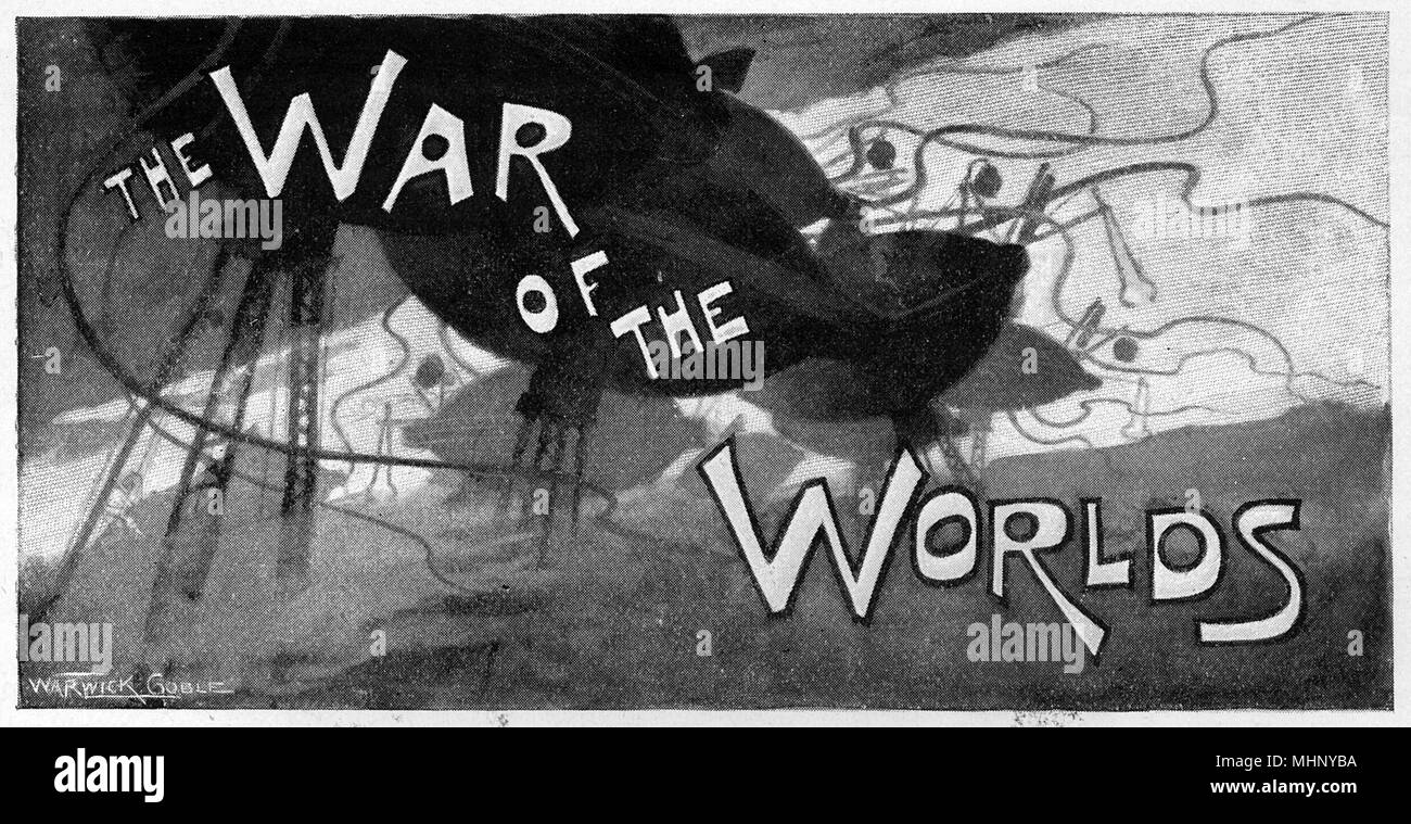 Serial title illustration, featuring the Martian fighting machines.The War of the Worlds is a science fiction novel by English author H. G. Wells (1866-1946). This plate comes from the first serialised version, published in 1897 by Pearson's Magazine in the UK.     Date: 1897 - Stock Image