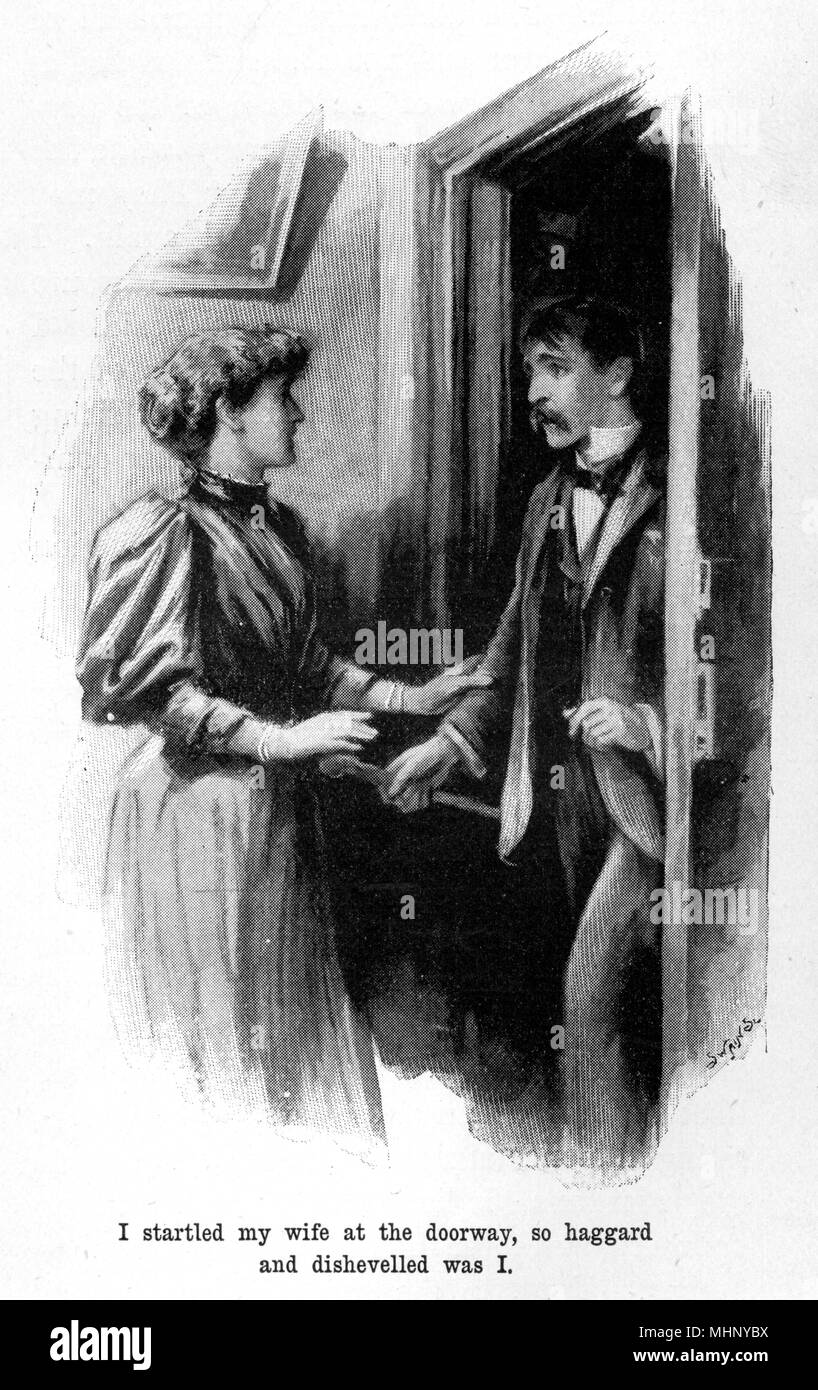The narrator arrives home, startling his wife with his haggard and dishevelled appearance. The War of the Worlds is a science fiction novel by English author H. G. Wells (1866-1946). This plate comes from the first serialised version, published in 1897 by Pearson's Magazine in the UK.     Date: 1897 - Stock Image