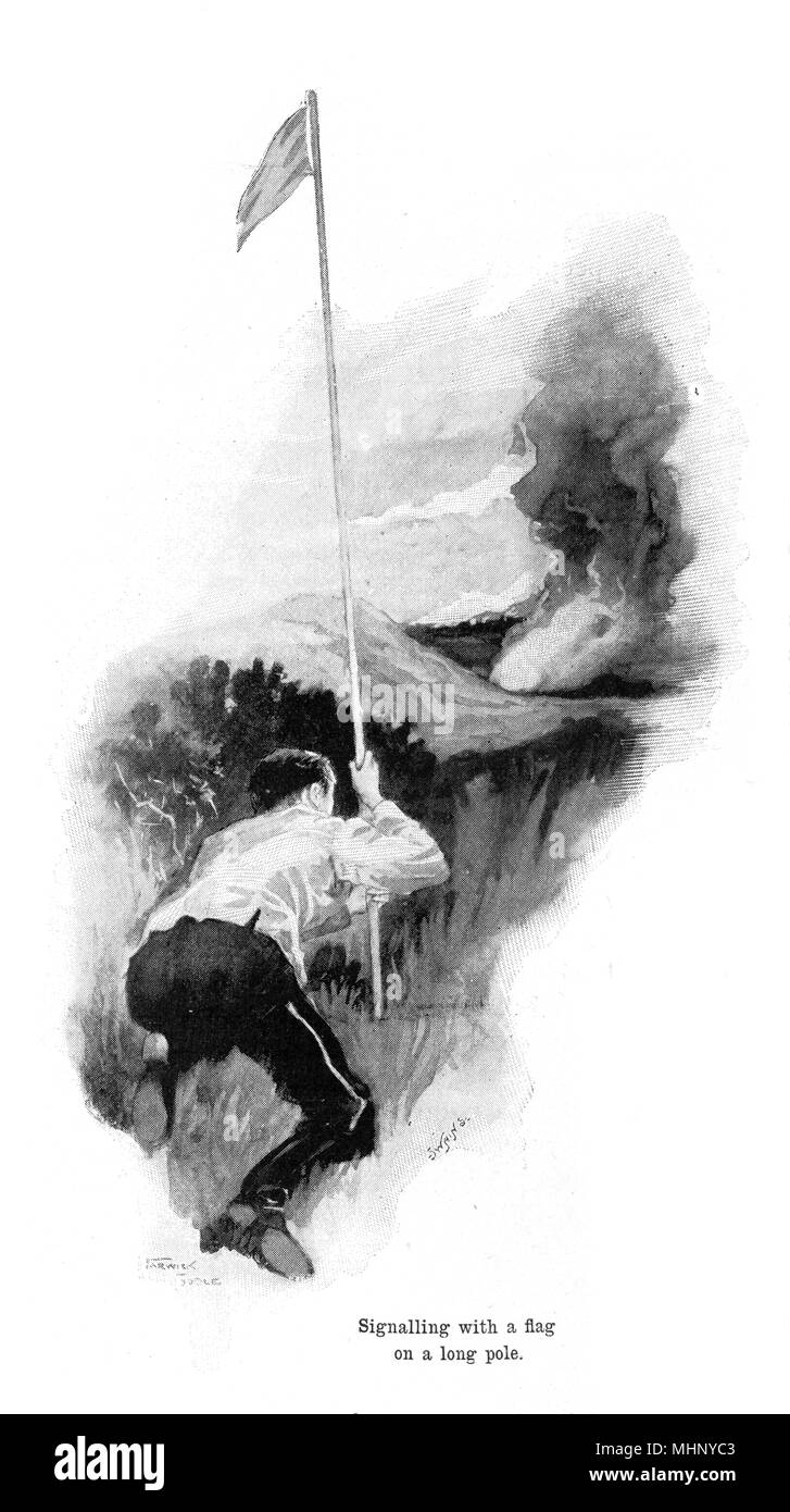 Signalling with a flag on a long pole. The War of the Worlds is a science fiction novel by English author H. G. Wells (1866-1946). This plate comes from the first serialised version, published in 1897 by Pearson's Magazine in the UK.     Date: 1897 - Stock Image