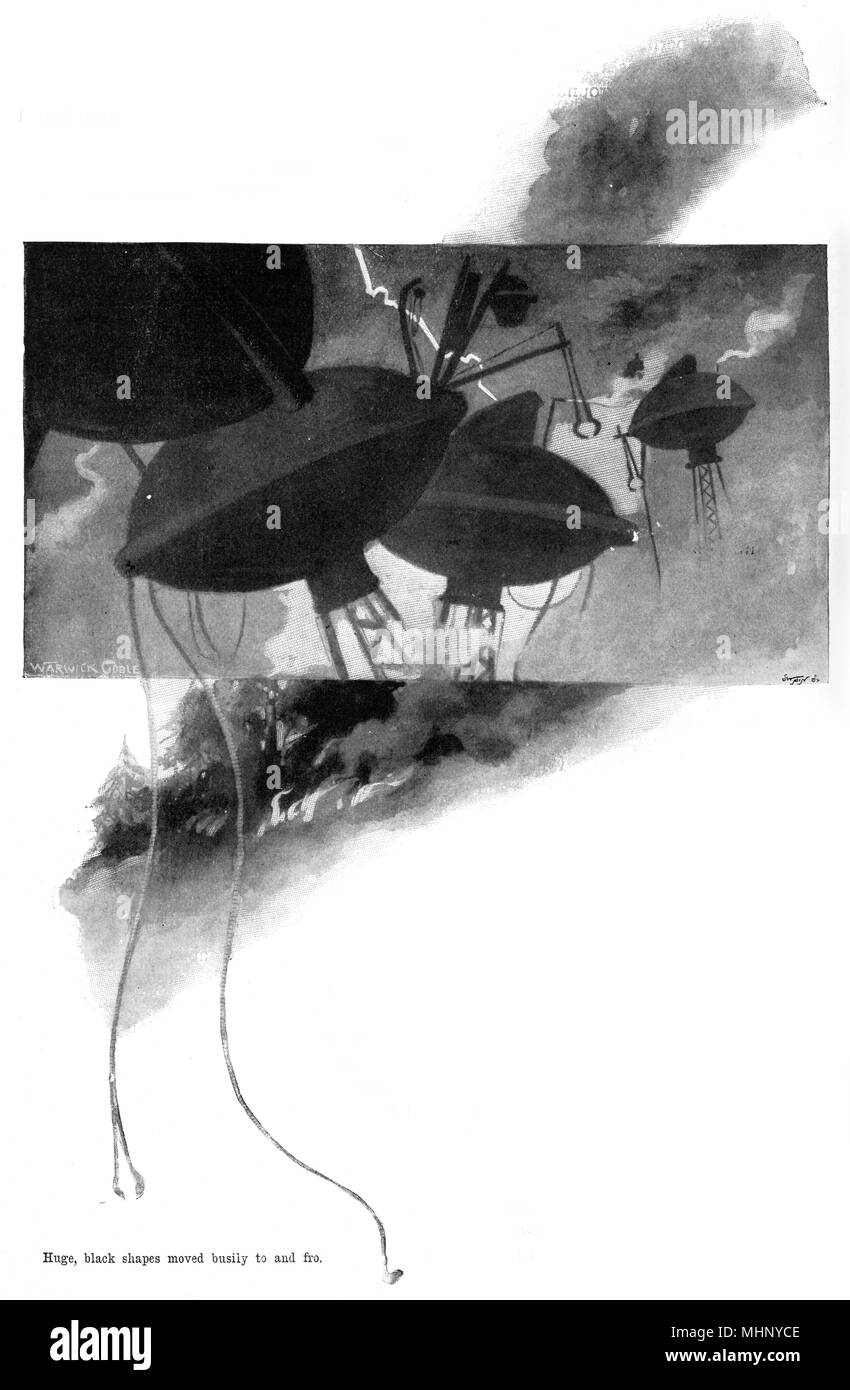 """The huge black shapes of the three-legged """"fighting-machines"""" (tripods) moving busily to and fro. The War of the Worlds is a science fiction novel by English author H. G. Wells (1866-1946). This plate comes from the first serialised version, published in 1897 by Pearson's Magazine in the UK.     Date: 1897 - Stock Image"""