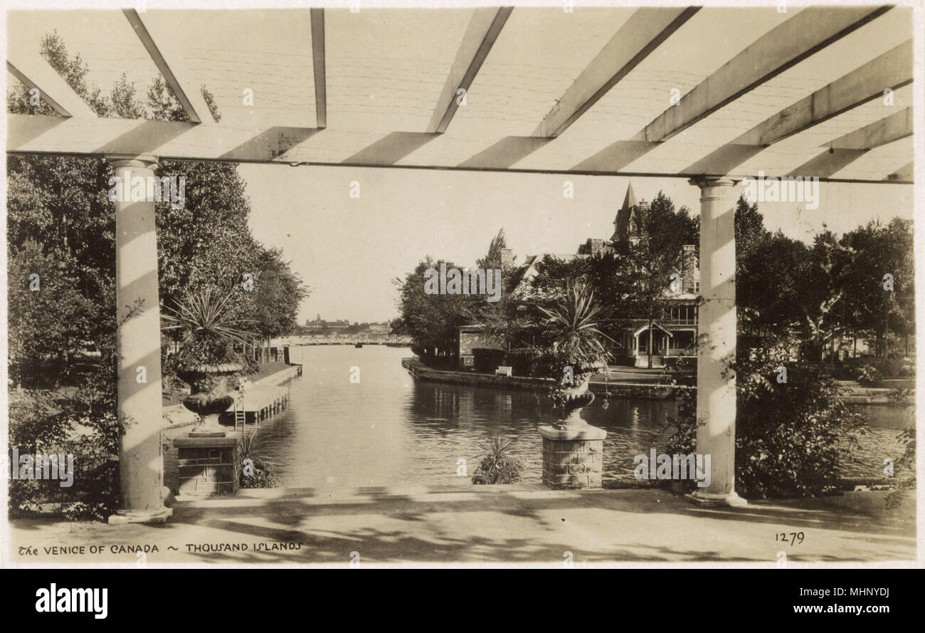The Venice of Canada, Thousand Islands, St Lawrence River, Ontario, Canada.      Date: circa 1920s - Stock Image