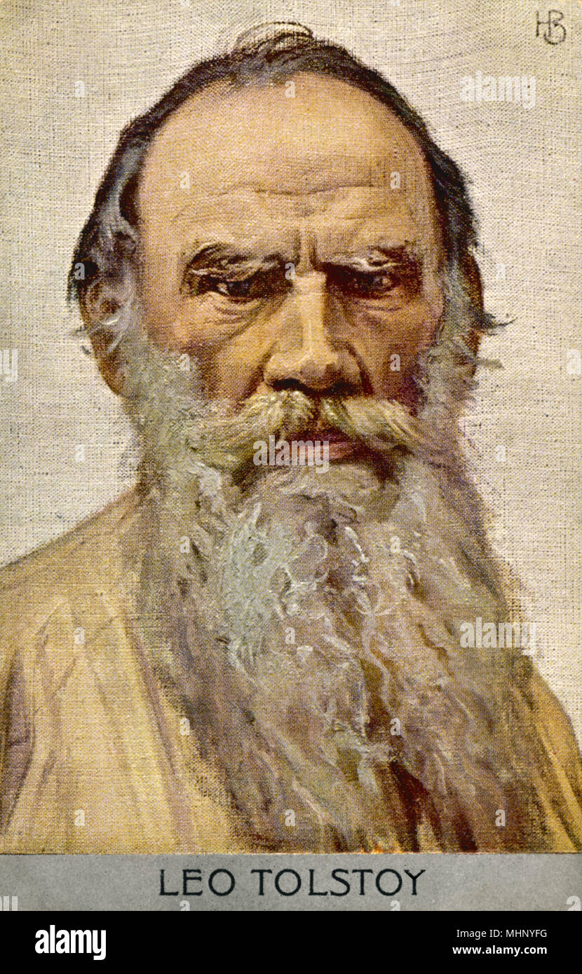 Leo Tolstoy (Count Lyev Nikolayevich Tolstoy), Russian novelist, essayist, dramatist and educational reformer. (Image digitally adjusted to change to Czech spelling of 'Tolstoj' to the more commonly used form of 'Tolstoy')       Date: 1828 - 1910 - Stock Image