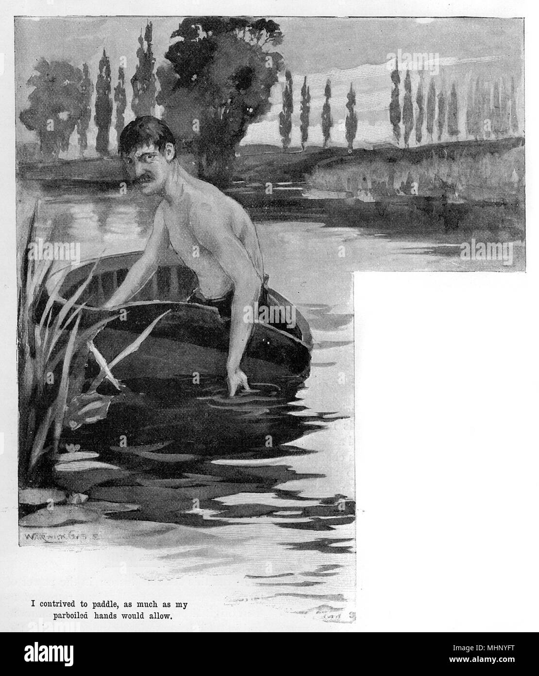 The narrator escaping by paddling away in an abandoned boat. The War of the Worlds is a science fiction novel by English author H. G. Wells (1866-1946). This plate comes from the first serialised version, published in 1897 by Pearson's Magazine in the UK.     Date: 1897 - Stock Image