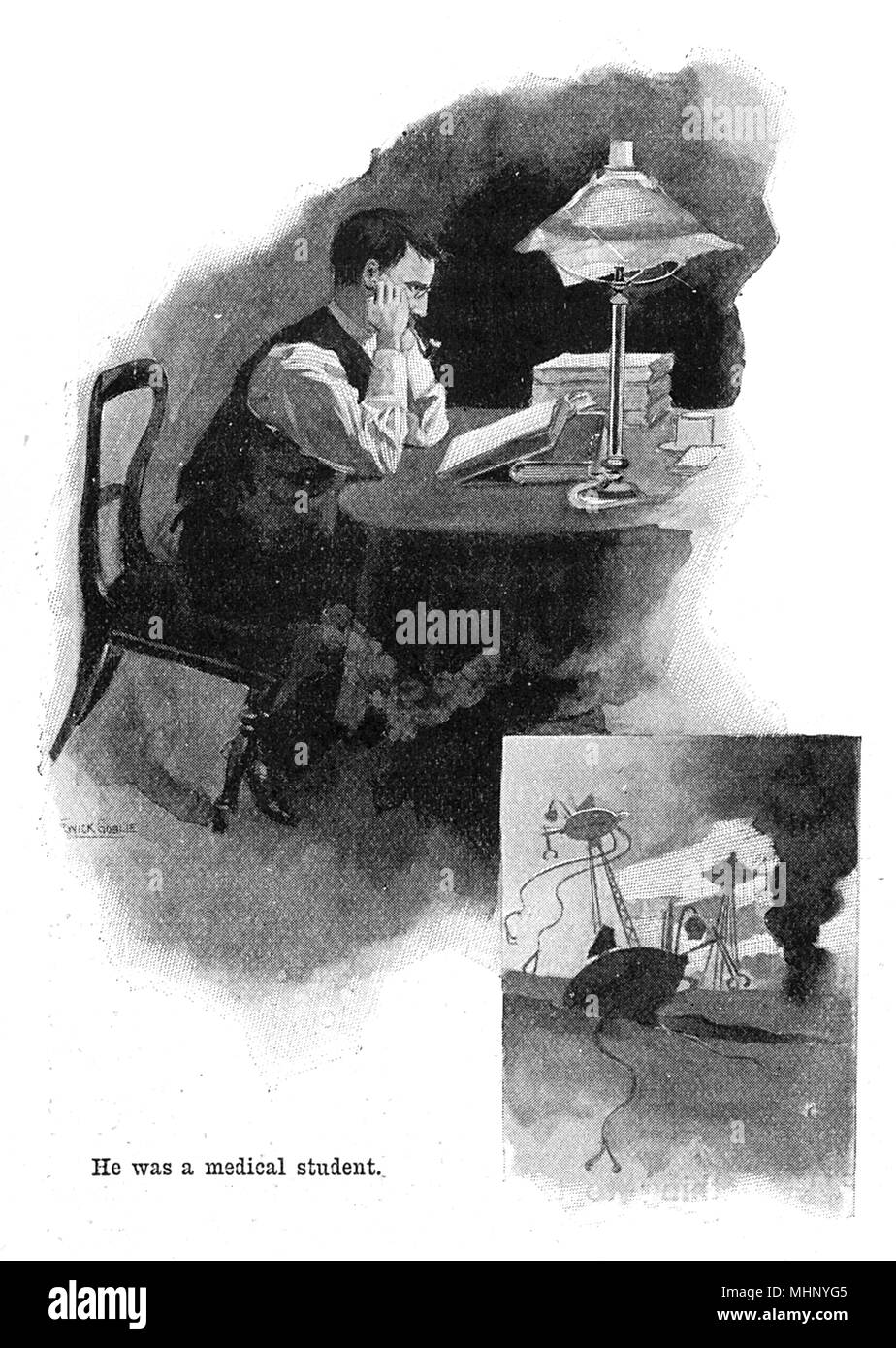 The Brother of the narrator - a Medical Student, bending his mind to the current situation. The War of the Worlds is a science fiction novel by English author H. G. Wells (1866-1946). This plate comes from the first serialised version, published in 1897 by Pearson's Magazine in the UK.     Date: 1897 - Stock Image