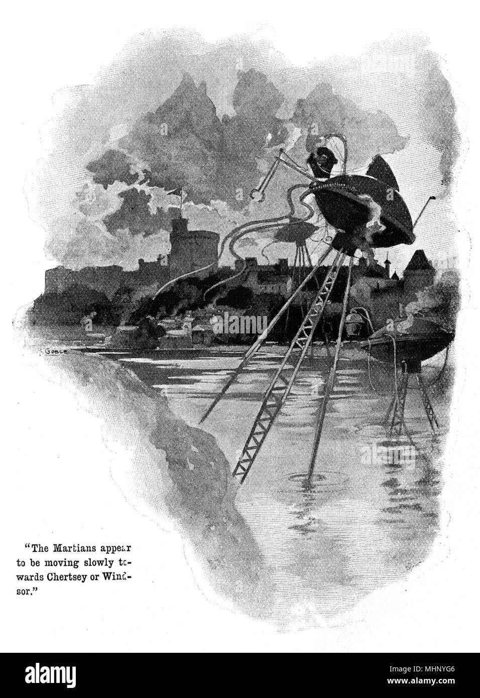 The Martian's fighting machines moving slowly up the River Thames towards Chertsey and Windsor (Windsor Castle in the background). War of the Worlds is a science fiction novel by English author H. G. Wells (1866-1946). This plate comes from the first serialised version, published in 1897 by Pearson's Magazine in the UK.     Date: 1897 - Stock Image