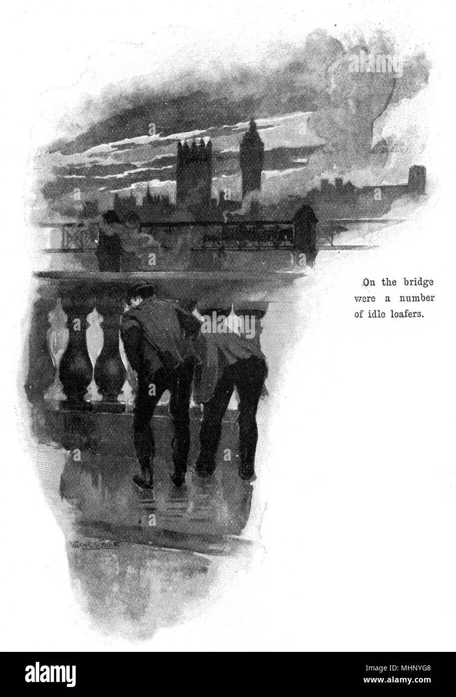 On Waterloo Bridge, London - a couple of 'idle loafers' watch a 'curious brown scum' that came drifting down the stream in places. The War of the Worlds is a science fiction novel by English author H. G. Wells (1866-1946). This plate comes from the first serialised version, published in 1897 by Pearson's Magazine in the UK.     Date: 1897 - Stock Image