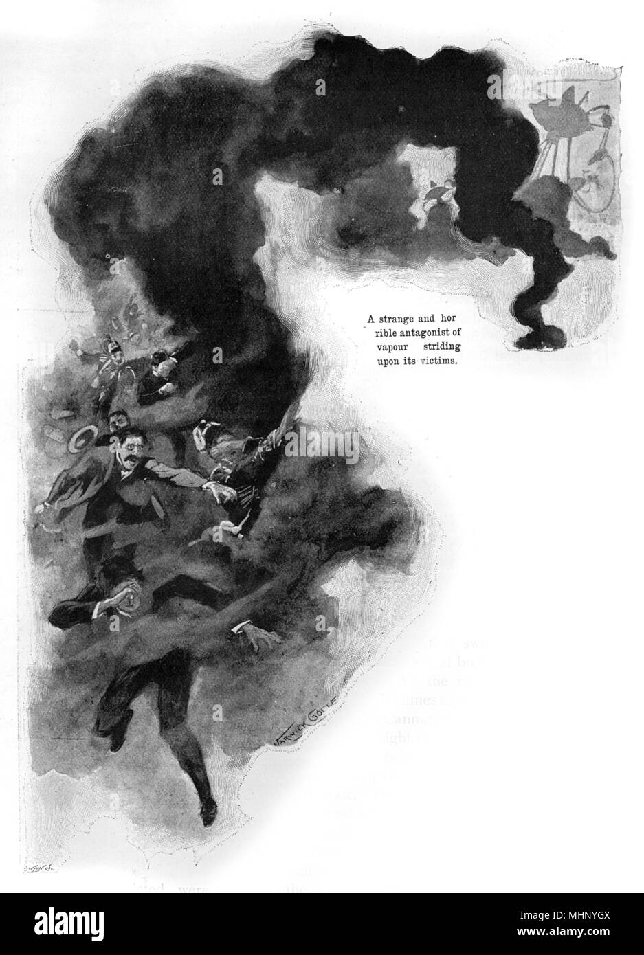 The Martian 'black vapour' striking down its victims... The War of the Worlds is a science fiction novel by English author H. G. Wells (1866-1946). This plate comes from the first serialised version, published in 1897 by Pearson's Magazine in the UK.     Date: 1897 - Stock Image