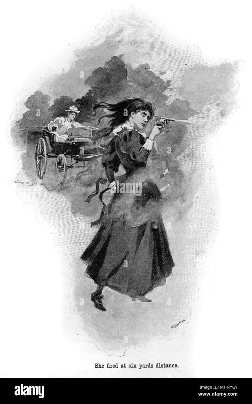 A slender lady (the younger sister of the wife of a surgeon) fights off would-be robbers with a revolver who were attacking their chaise. The War of the Worlds is a science fiction novel by English author H. G. Wells (1866-1946). This plate comes from the first serialised version, published in 1897 by Pearson's Magazine in the UK.     Date: 1897 - Stock Image