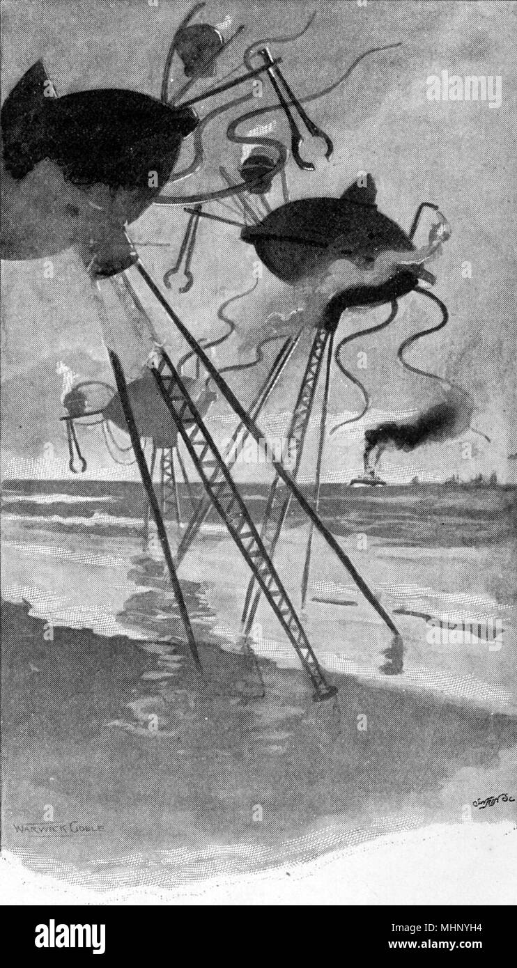 The Martian Fighting Machines stalking seaward. The War of the Worlds is a science fiction novel by English author H. G. Wells (1866-1946). This plate comes from the first serialised version, published in 1897 by Pearson's Magazine in the UK.     Date: 1897 - Stock Image