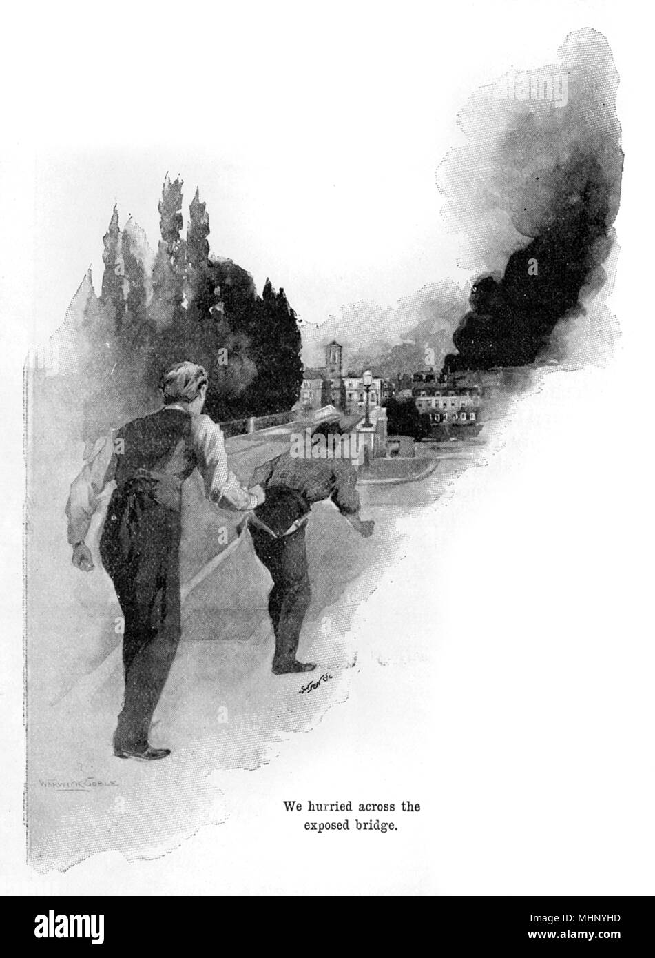The narrator and the curate hurry across the exposed Richmond Bridge. The War of the Worlds is a science fiction novel by English author H. G. Wells (1866-1946). This plate comes from the first serialised version, published in 1897 by Pearson's Magazine in the UK.     Date: 1897 - Stock Image