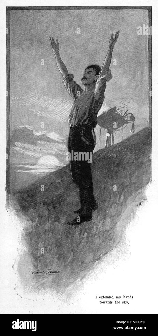 The narrator extends his hands toward the sky - the Martian threat was at last over. The War of the Worlds is a science fiction novel by English author H. G. Wells (1866-1946). This plate comes from the first serialised version, published in 1897 by Pearson's Magazine in the UK.     Date: 1897 - Stock Image