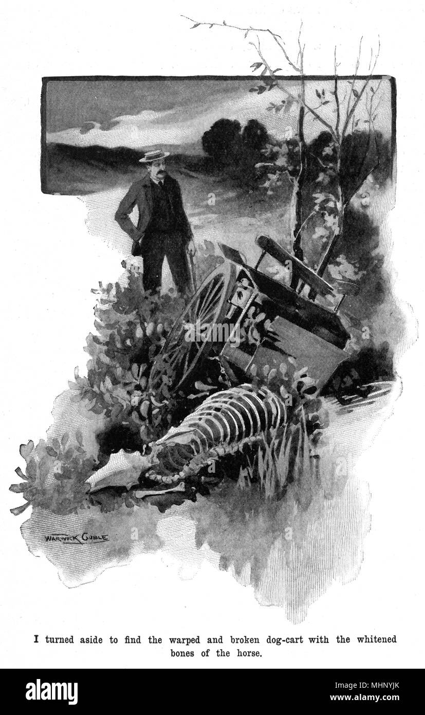 Finding the warped and broken dog cart and the bones of the horse. The War of the Worlds is a science fiction novel by English author H. G. Wells (1866-1946). This plate comes from the first serialised version, published in 1897 by Pearson's Magazine in the UK.     Date: 1897 - Stock Image
