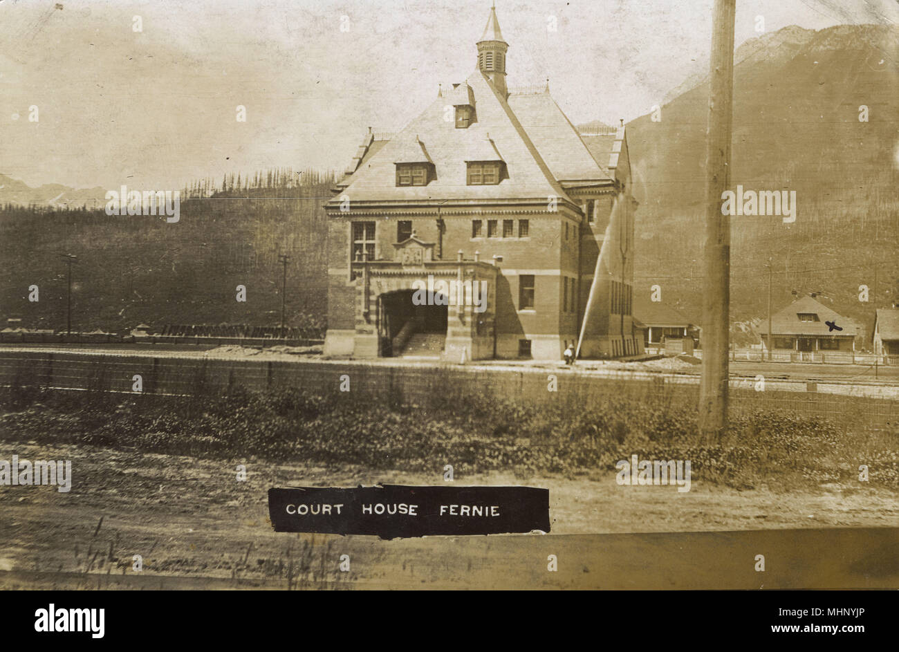 Court house at Fernie, British Columbia, Canada.      Date: circa 1908 - Stock Image