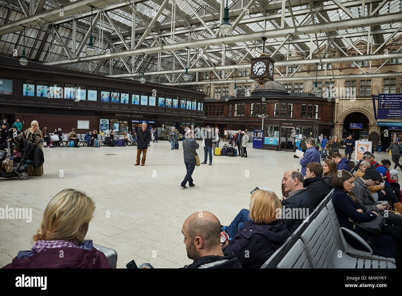 Glasgow in Scotland,   Glasgow Central - Stock Image