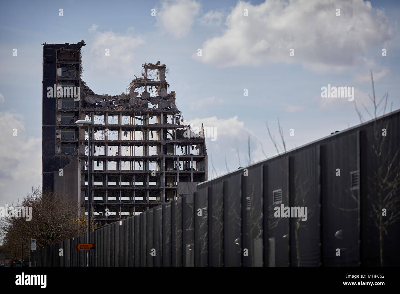 Demolition of Manchester ICL tower in Gorton Designed by architects Cruikshank and Seward, house the cutting-edge computing power of the time, the ICT - Stock Image