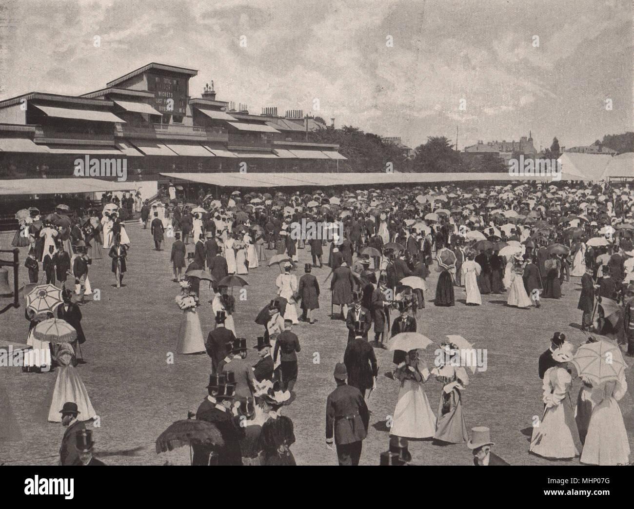 The Eton & Harrow match at Lord's (1895). Luncheon break. London. Cricket 1896 - Stock Image