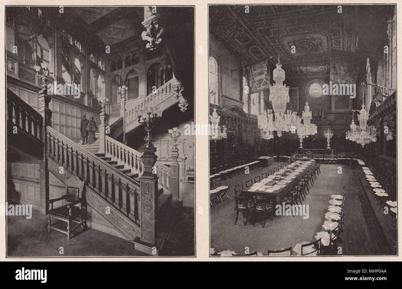 The Grocers' Hall staircase; Mercers' Hall Livery meeting. London 1896 print - Stock Image