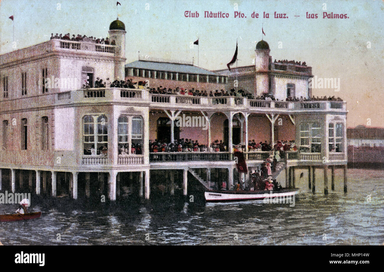 Nautical Club, Puerto de la Luz, Las Palmas, Canary Islands.      Date: 1906 - Stock Image
