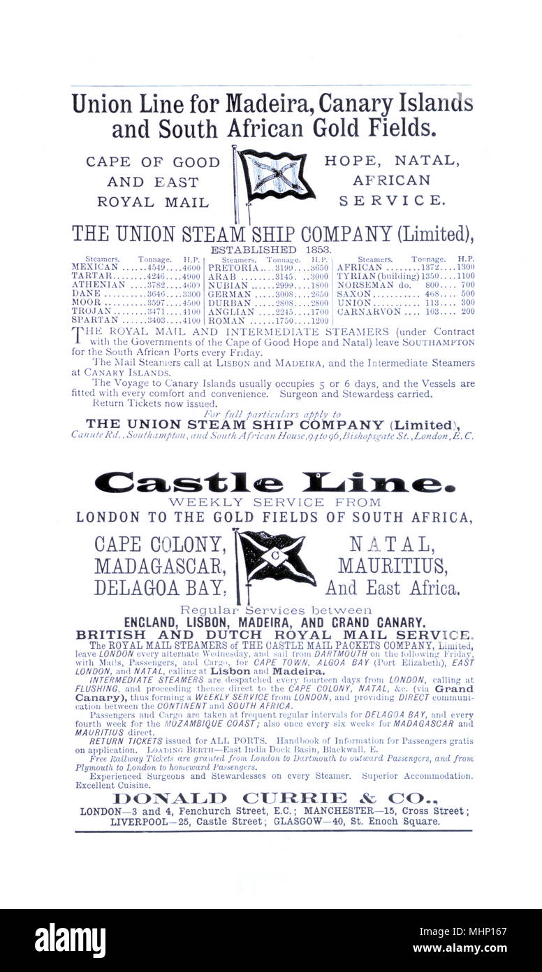 Advertisement, Union Steamship Company, Castle Line, showing destinations including Madeira, Canary Islands, South African Gold Fields, Cape Colony, Madagascar, Delagoa Bay, Natal, Mauritius and East Africa, managed by Donald Currie & Co, Fenchurch Street, London.     Date: 1889 - Stock Image