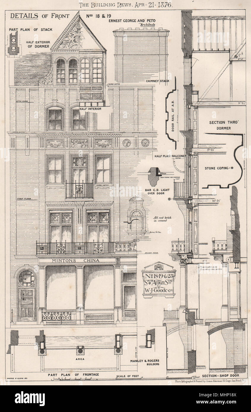 Nos. 18,19 & 20 South Audley Street for W.J. Goode; Ernest George & Peto 1876 - Stock Image
