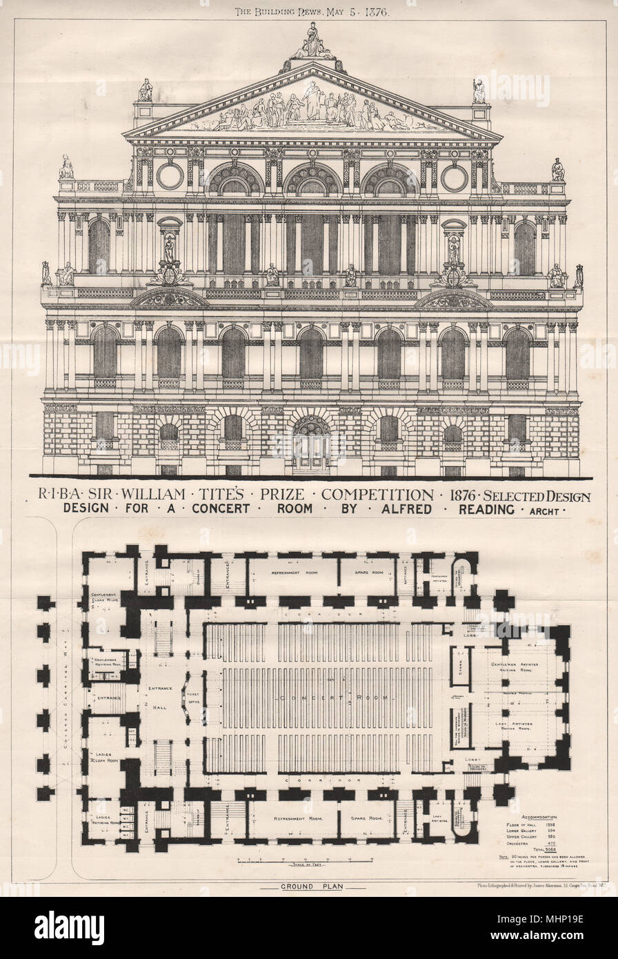 Design for a concert room by Alfred Reading, Architect 1876 old antique print - Stock Image
