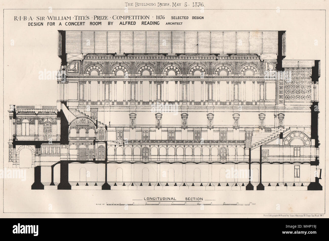 Design for a concert room by Alfred Reading, Architect (2) 1876 old print - Stock Image