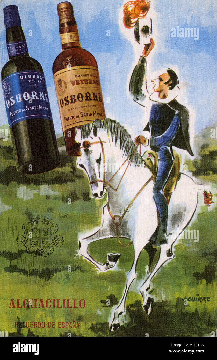 Advertisement on a postcard, Osborne & Co, Spain -- with two bottles of brandy (Veterano and Oloroso) and a man on horseback.      Date: circa 1940 Stock Photo