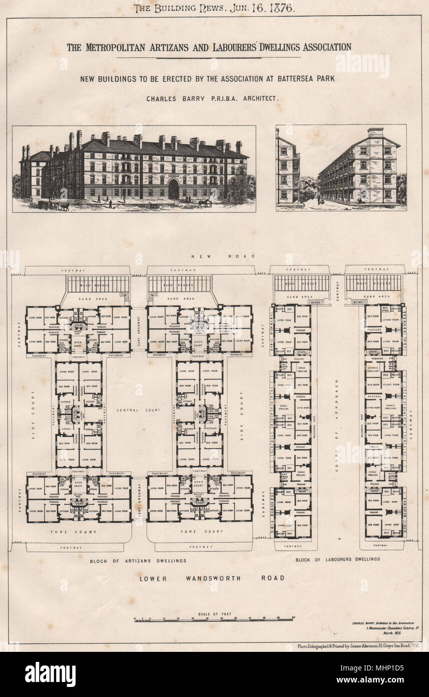 Metropolitan Artizans & Labourers Dwellings Association, Battersea Park 1876 - Stock Image
