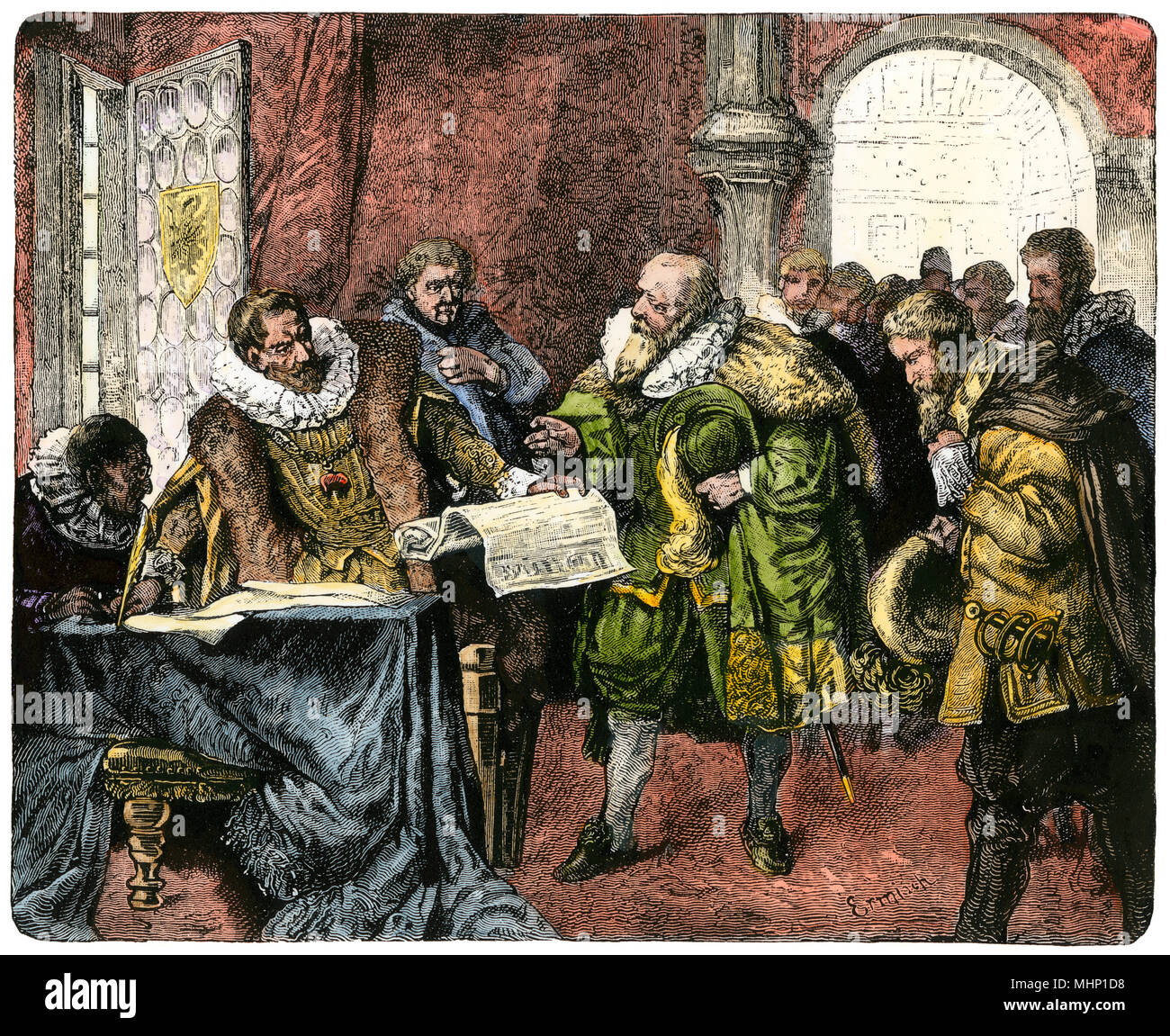 Holy Roman Emperor Rudolph II signs the Letter of Majesty giving
