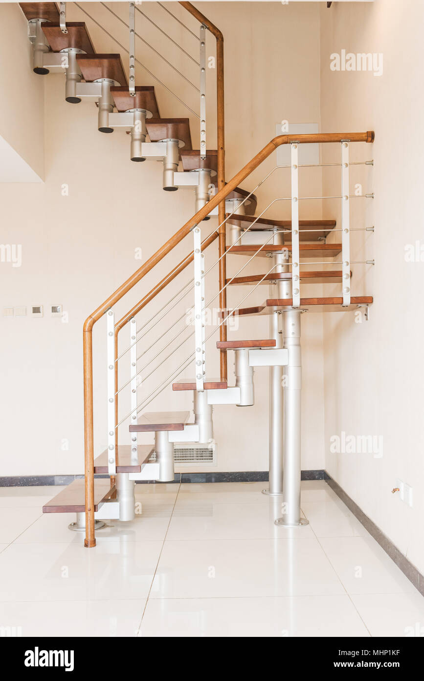 Stair. Solid Newel Stairs With Wooden Steps. Modern Style ...