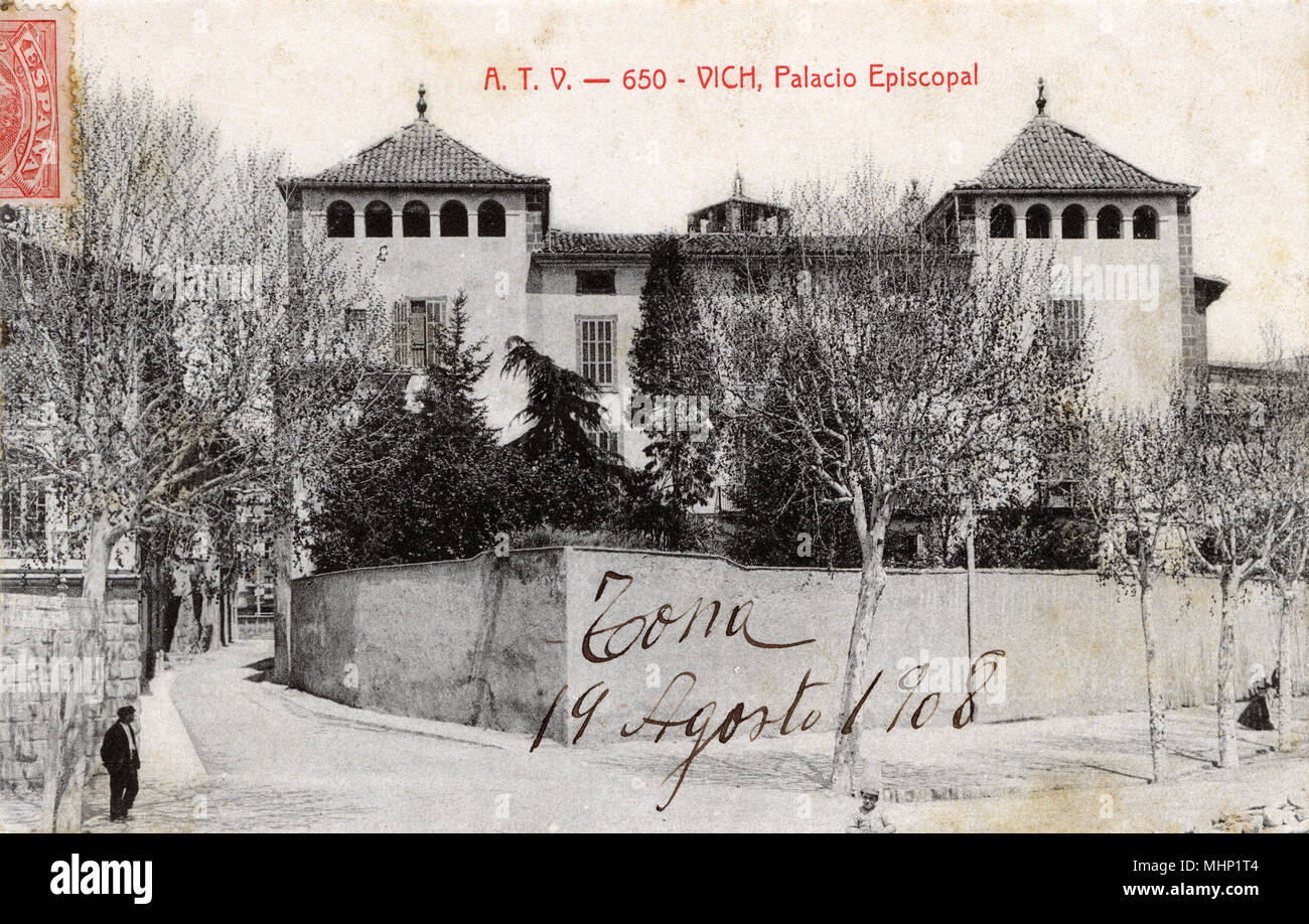 Bishop's Palace, Vich (Vic), Catalonia, Spain.      Date: circa 1900s - Stock Image
