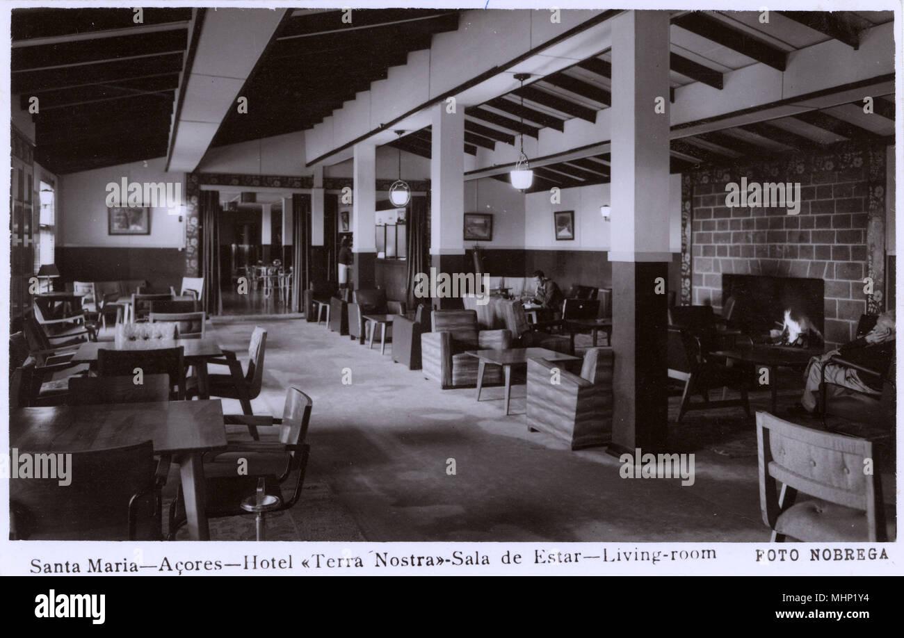 View of the Lounge, Hotel Terra Nostra, Santa Maria Island, Azores, Atlantic Ocean.     Date: circa 1940 - Stock Image