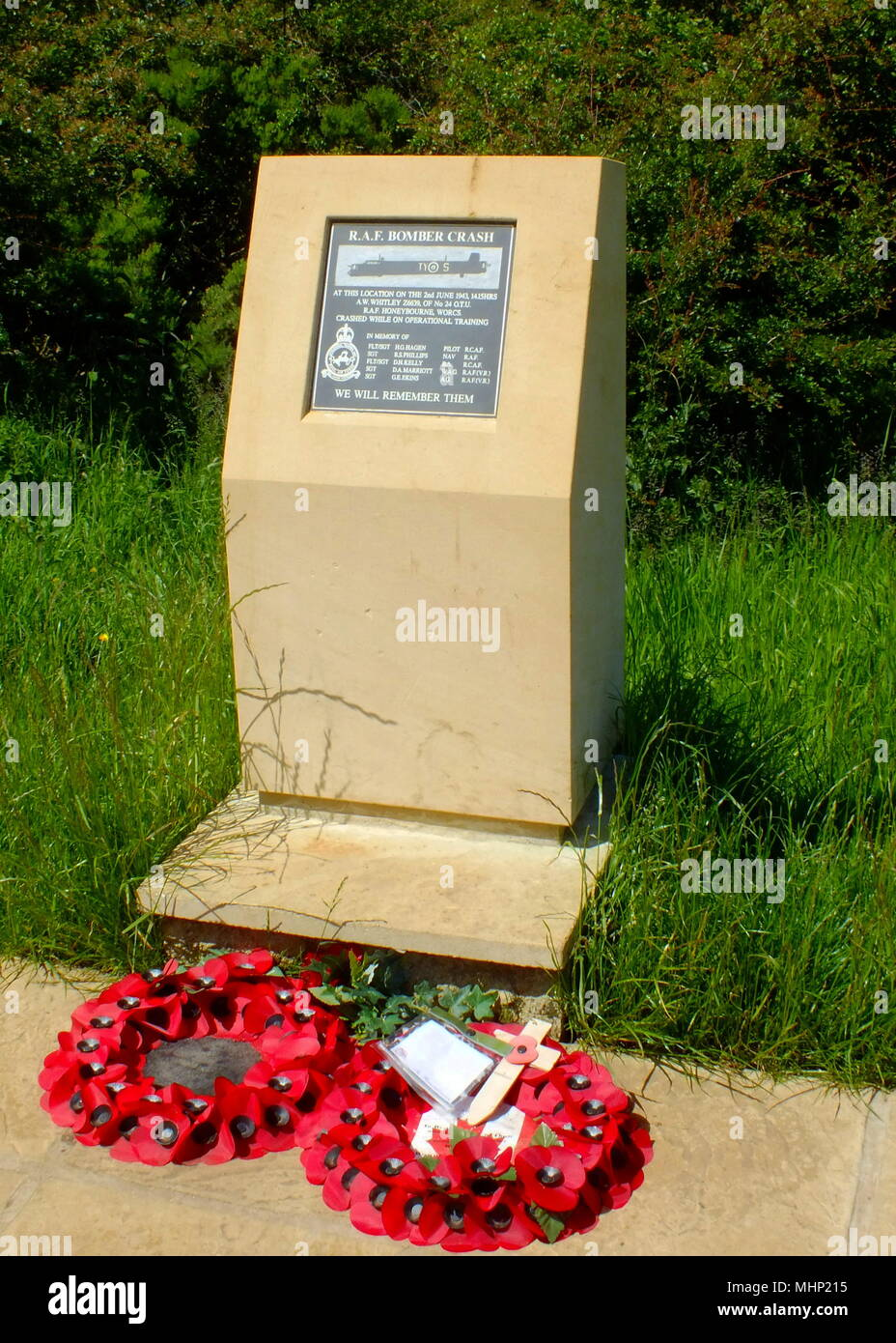 RAF bomber crash Memorial, near Broadway, Worcestershire -- on 2 June 1943 a plane and its crew from RAF Honeybourne crashed in this location while on operational training.      Date: circa 2010s - Stock Image