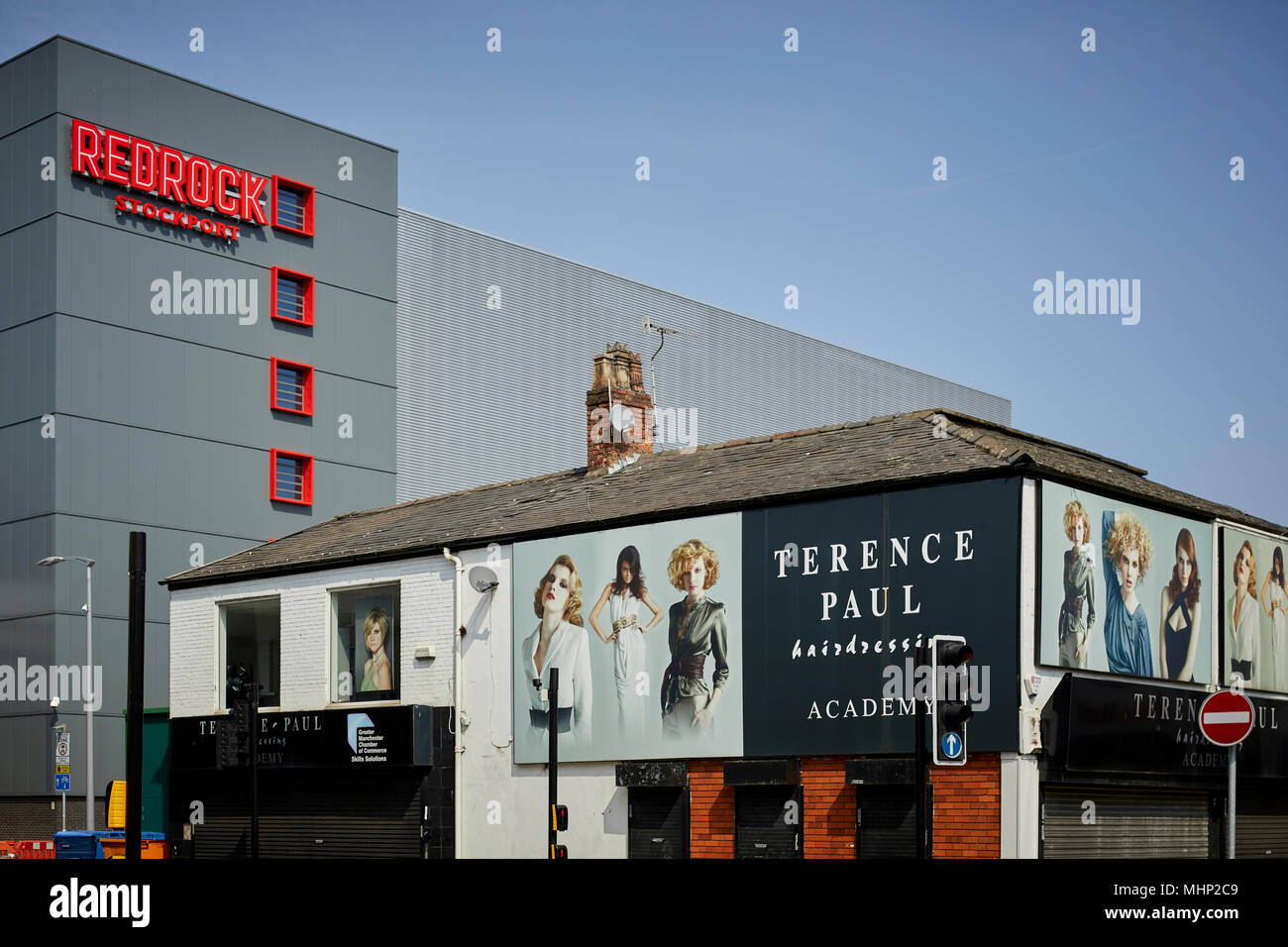 Stockport town centre, Merseyway Redrock development from princess Street - Stock Image